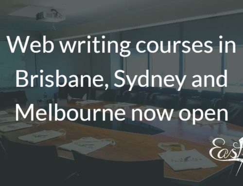 Web writing courses now open for Brisbane, Sydney and Melbourne