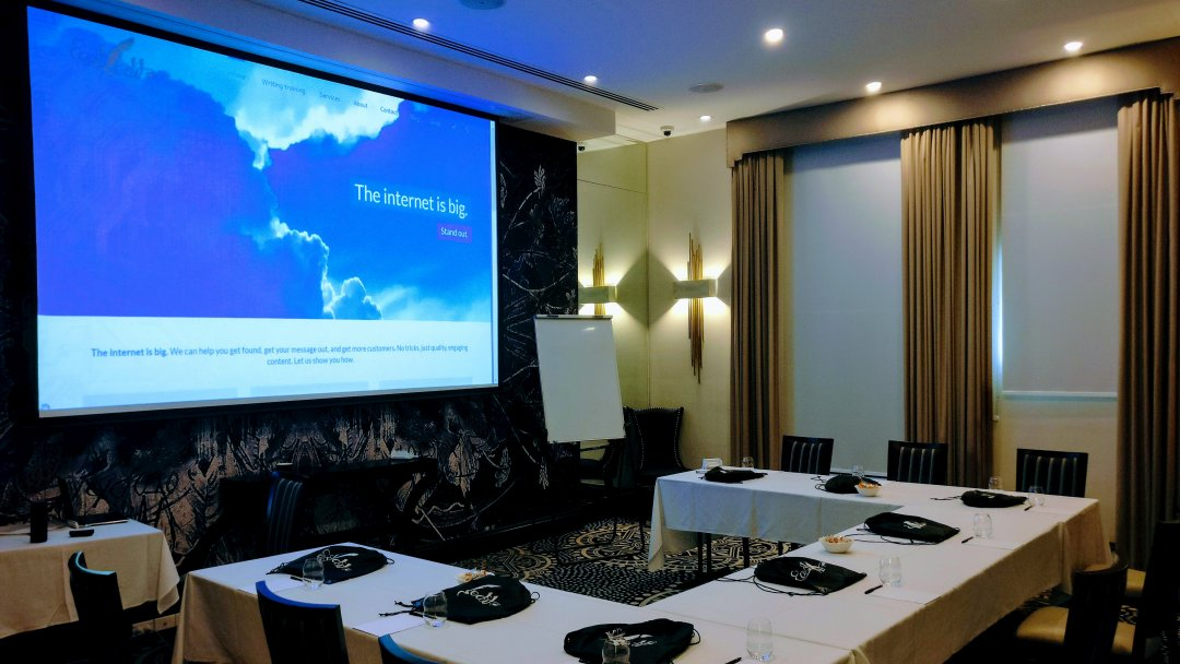 Web writing course room all set up in Brisbane.
